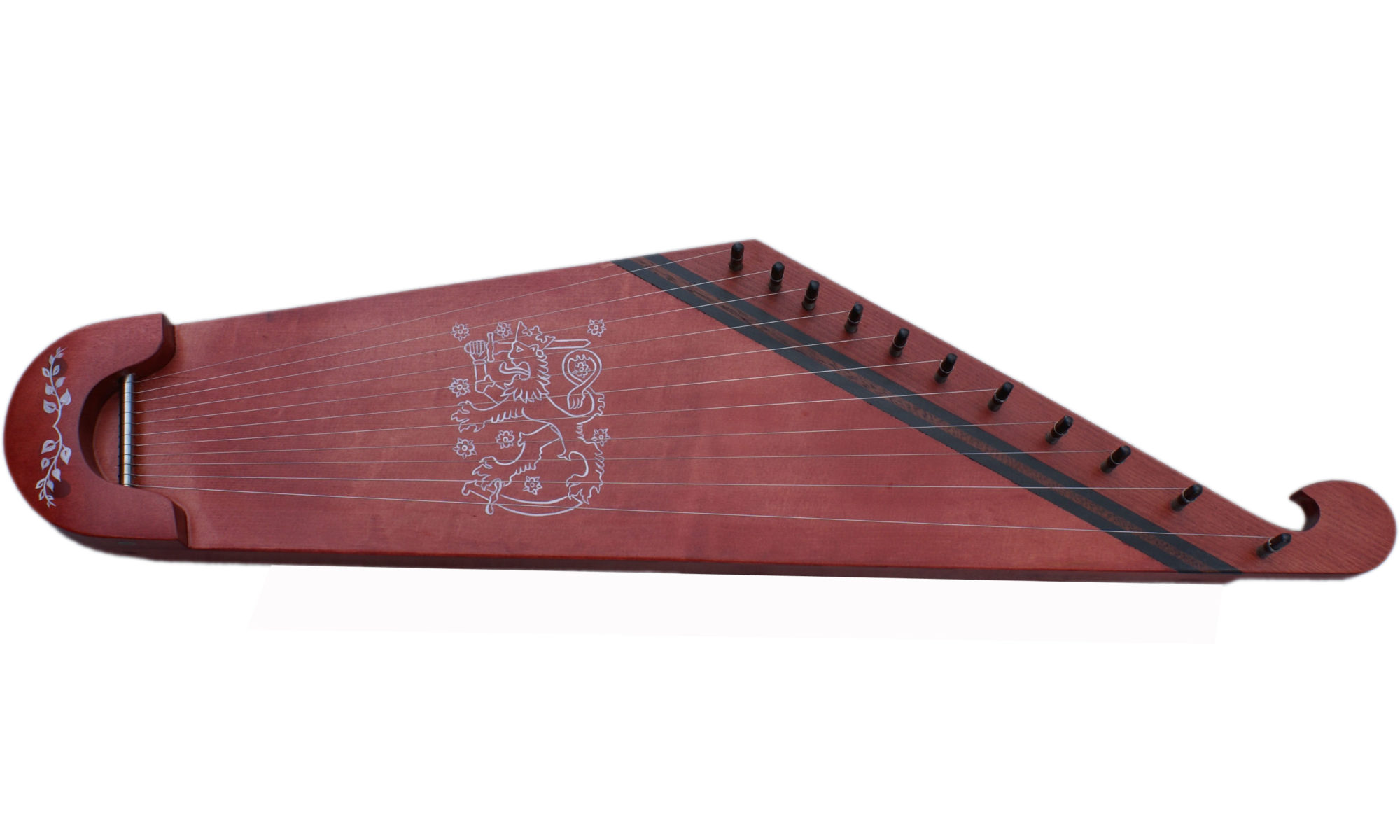 11 string KANTELE RED with Finnish coat of arms on the top.